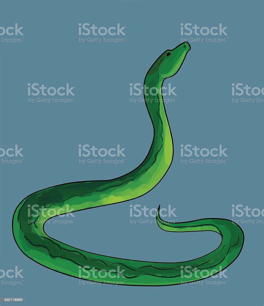 Iluustration of snake on blue background vector art illustration