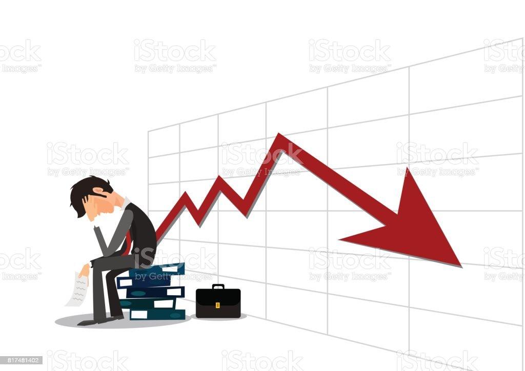 iluustrator 業務、破産、人々 およびストレス概念 - 下がって白い背景および外国為替グラフ上の不幸なサラリーマン ベクターアートイラスト