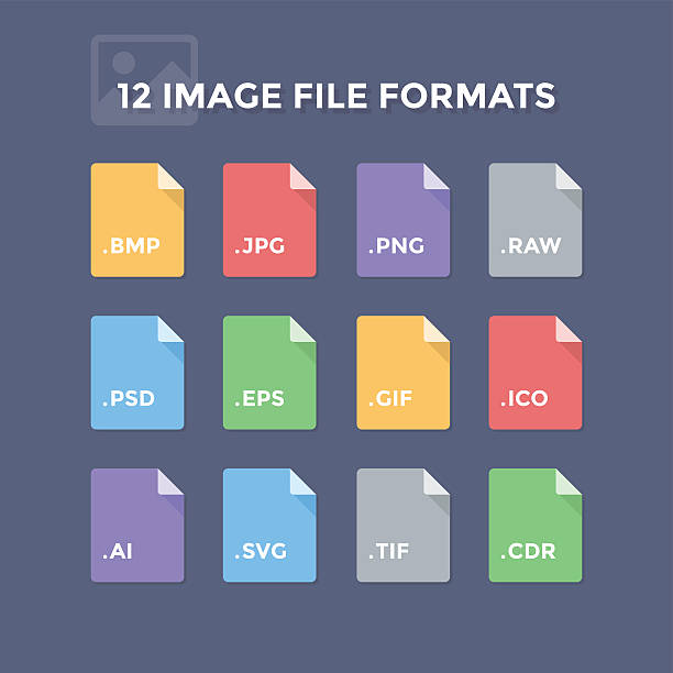 Image File Formats Image file formats. Photo and graphic file type icons svg stock illustrations
