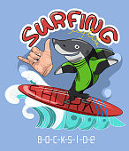 Image for t-shirt, clothing, poster, postcard, sticker, print. Shark surfer. Hand with gesture Shaka-cheer.