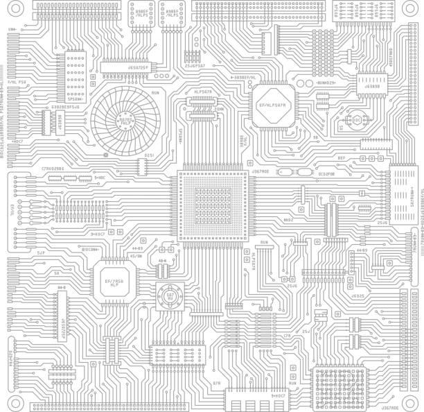 ボードと電子回路のイメージ イラスト - 半導体点のイラスト素材/クリップアート素材/マンガ素材/アイコン素材