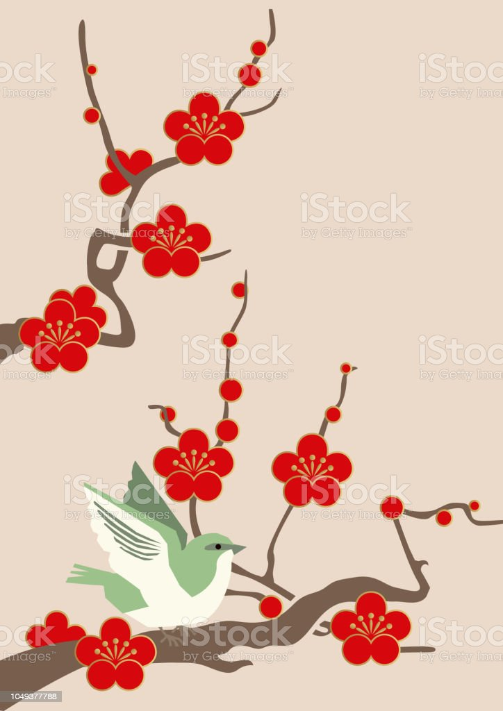 Image material of red plum blossoms.Image of spring of Japan. Japanese pattern design material. Material collection of New Year. Illustration of spring image. Illustration of spring image. Japanese pattern design material. Beauty In Nature stock vector