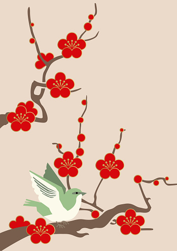 Image Material Of Red Plum Blossomsimage Of Spring Of Japan Japanese Pattern Design Material Material Collection Of New Year Illustration Of Spring Image Stock Illustration - Download Image Now