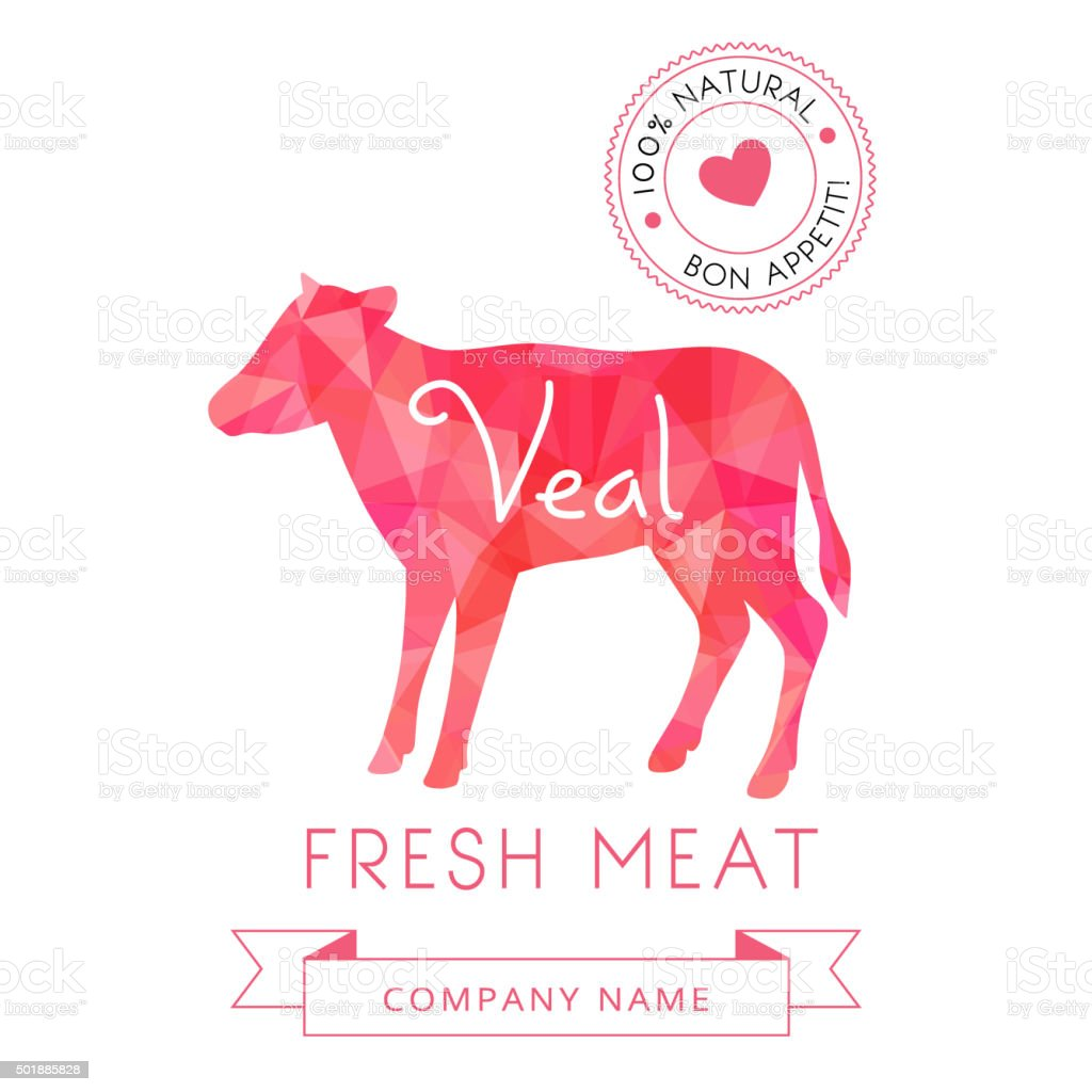 Image meat symbol veal silhouettes of animal for design menus vector art illustration