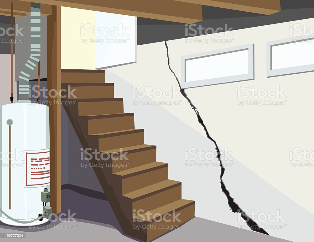 Image Of A Basement Water Tank And Cracked Foundation Royalty Free Image Of  A Basement