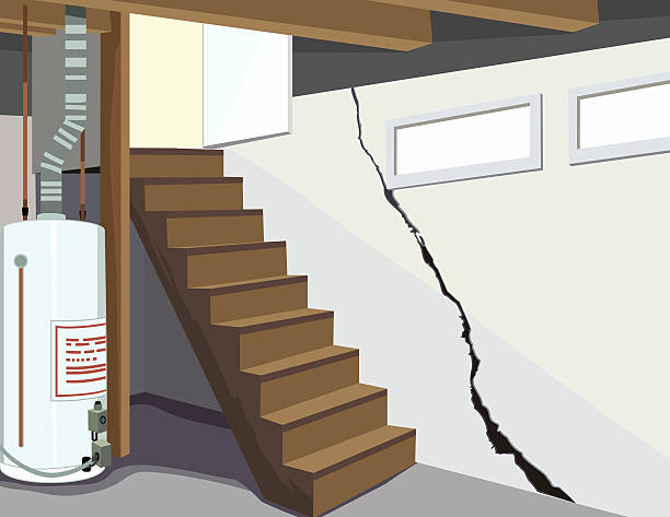 image of a basement water tank and cracked foundation - basement stock illustrations