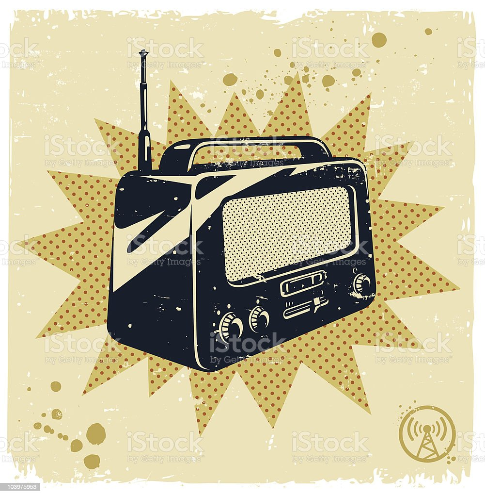 Image of a black and white retro radio royalty-free image of a black and white retro radio stock vector art & more images of antenna - aerial