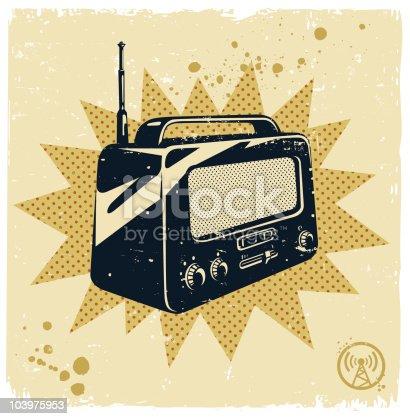 istock Image of a black and white retro radio 103975953