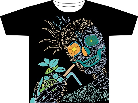 Image of a cheerful skeleton for printing on a T-shirt