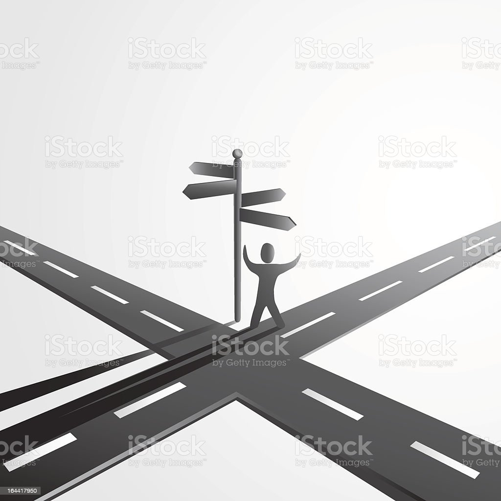 Image of a figure standing at a crossroads vector art illustration