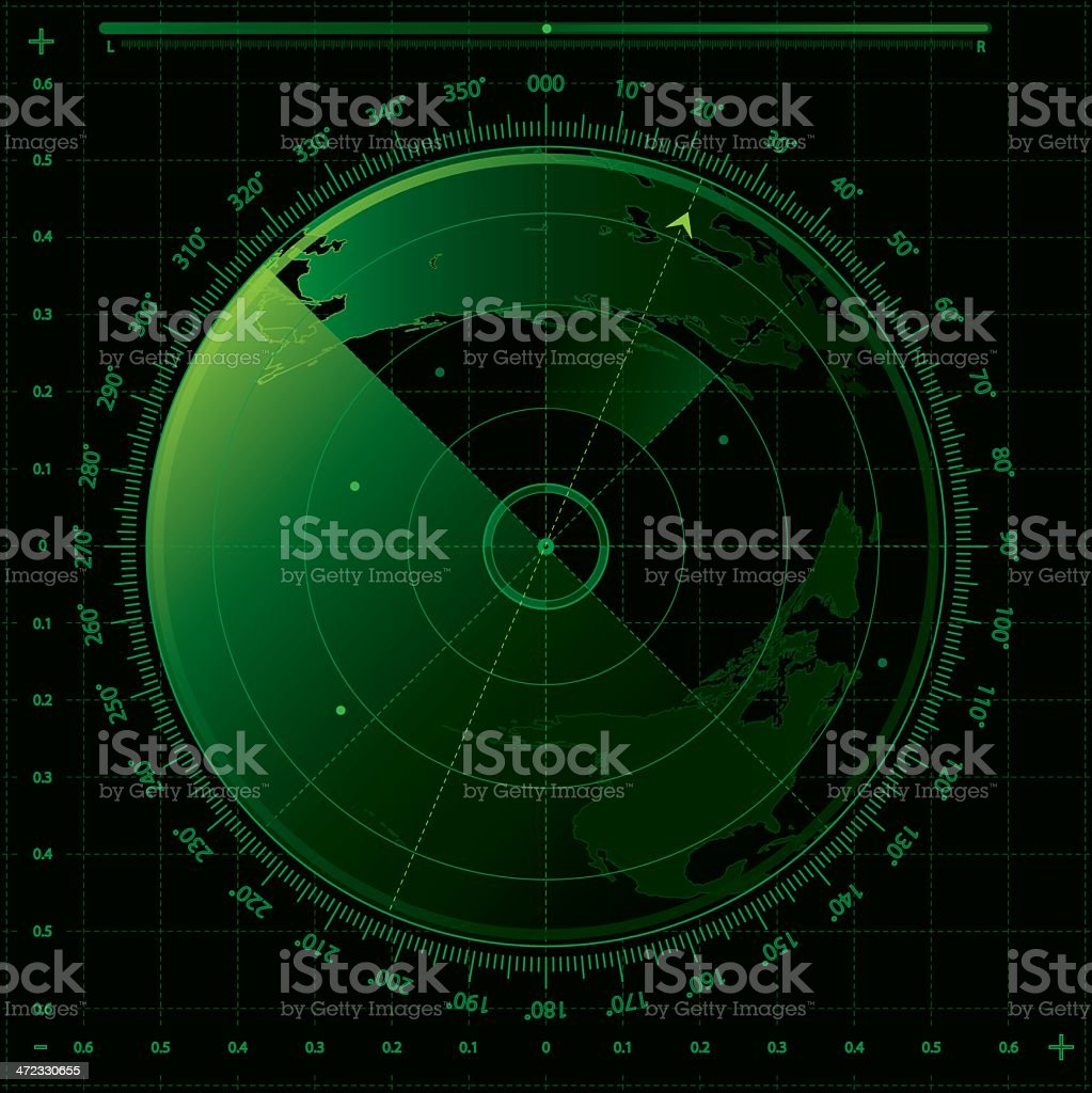Image of a green and black radar screen vector art illustration