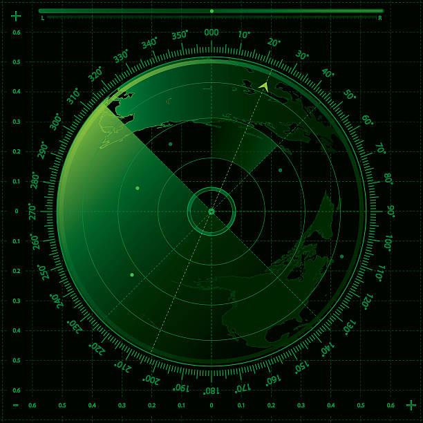 image of a green and black radar screen - radar stock illustrations