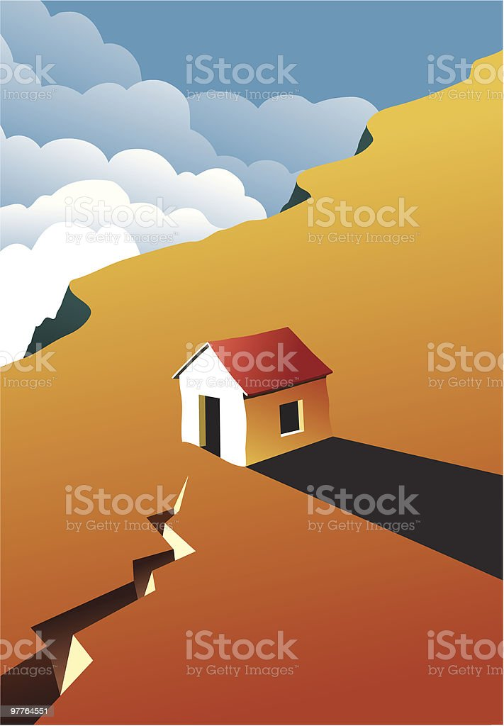 Image of a house on a cliff at sunset vector art illustration
