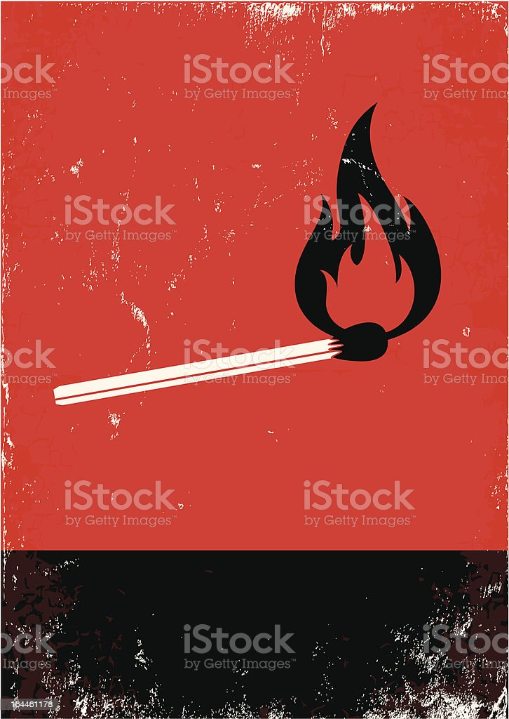 Image of a lit match on a black and red background vector art illustration