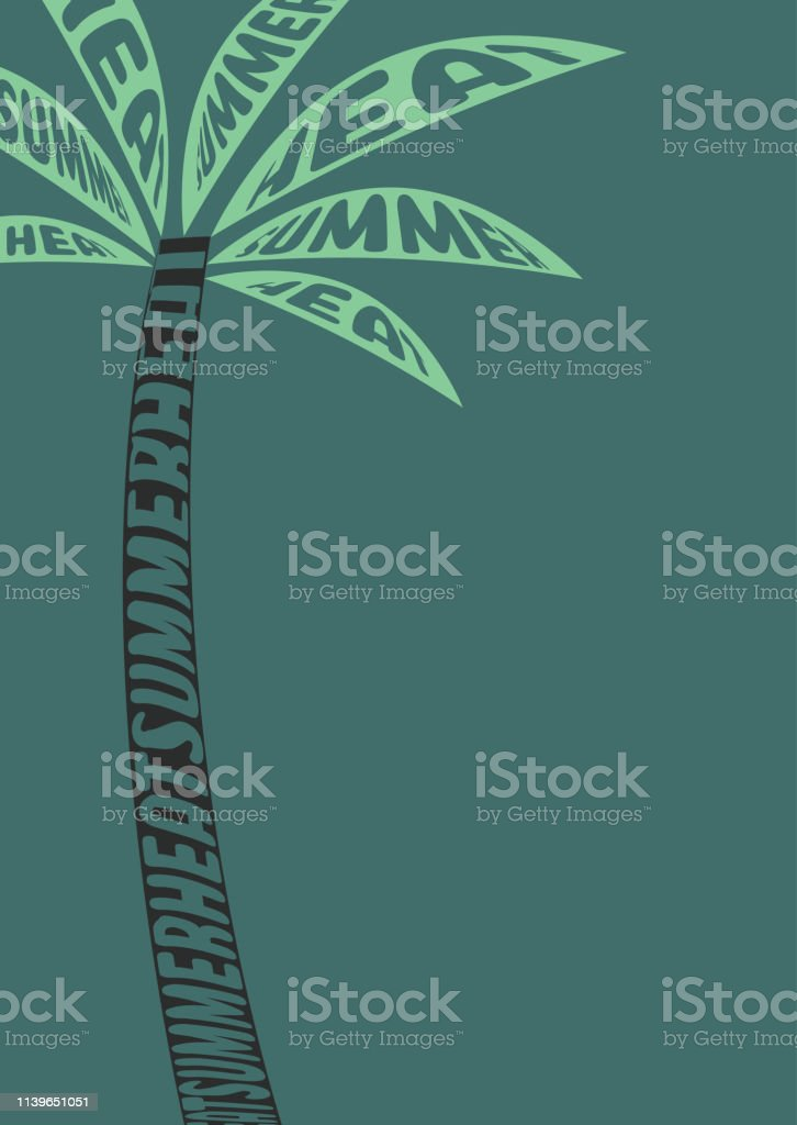 Image Of A Palm Tree At Sunset Brochure Design Template