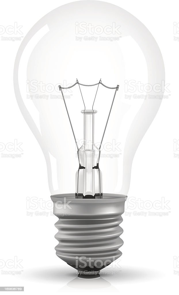 Image of a single light bulb on a white background royalty-free stock vector art