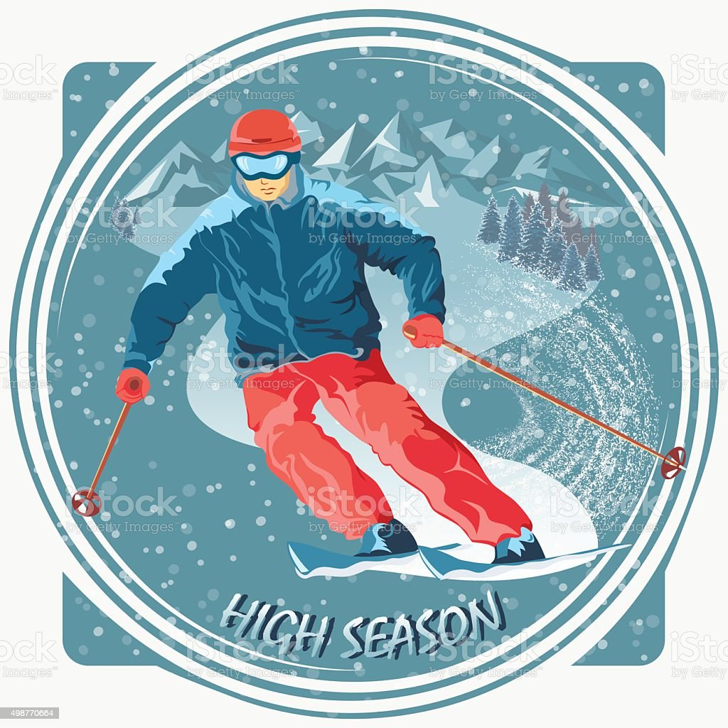 Image of a skier in a ski resort vector art illustration