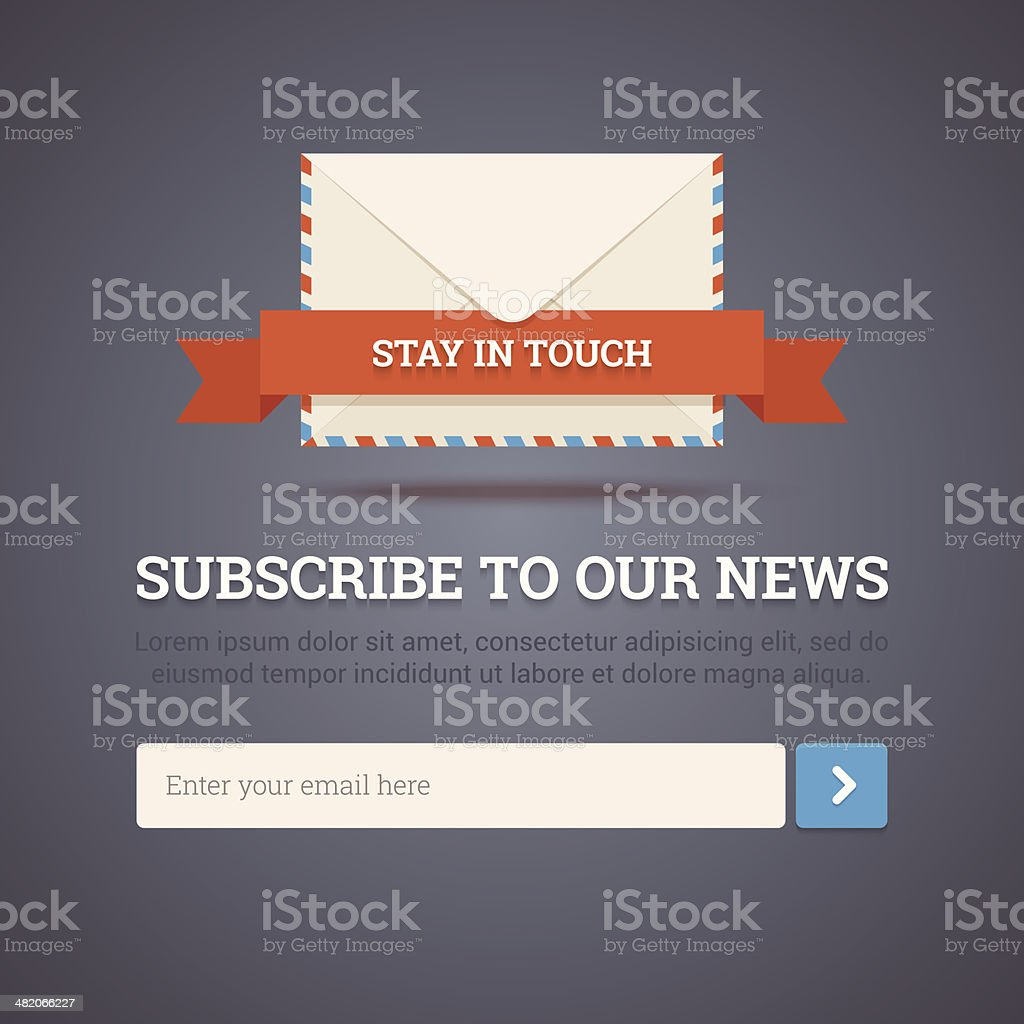 Image of a subscription form with white text royalty-free stock vector art