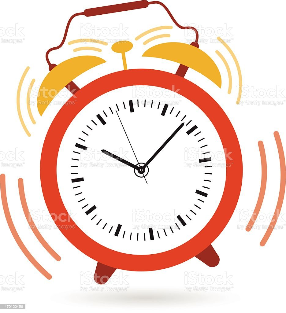 Image of an alarm clock shaking and ringing at 10:09 vector art illustration