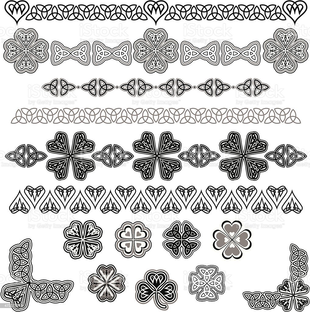 Image of black and white Celtic designs vector art illustration