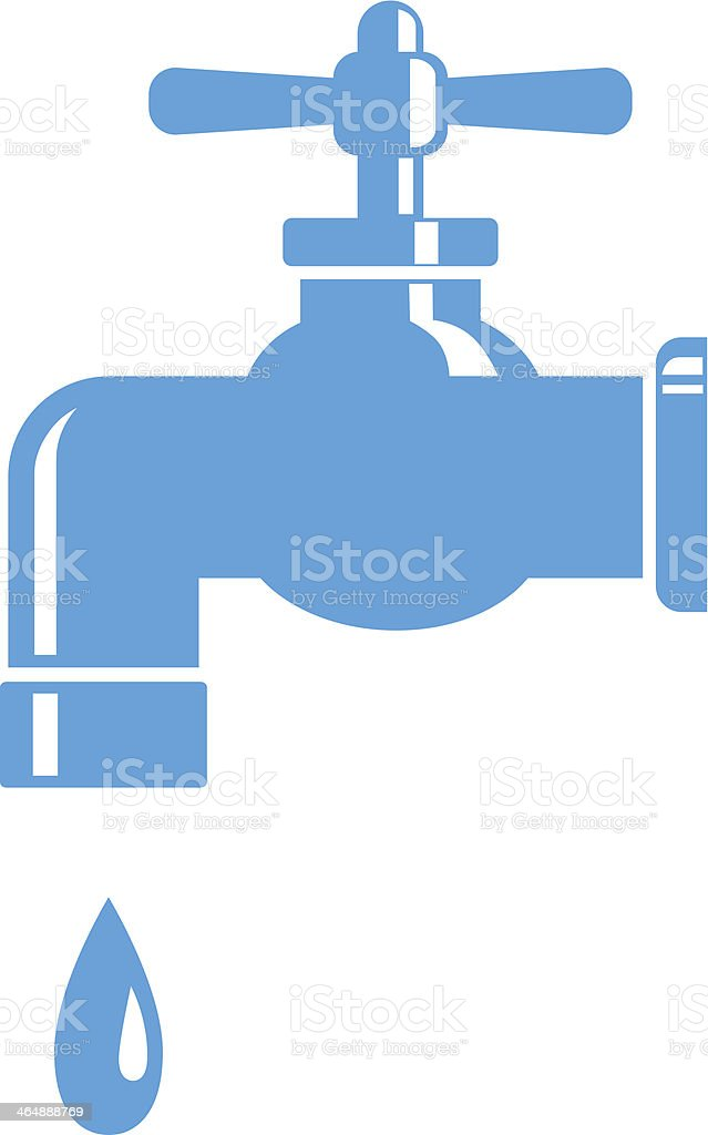 Image of blue faucet with a drop of water vector art illustration