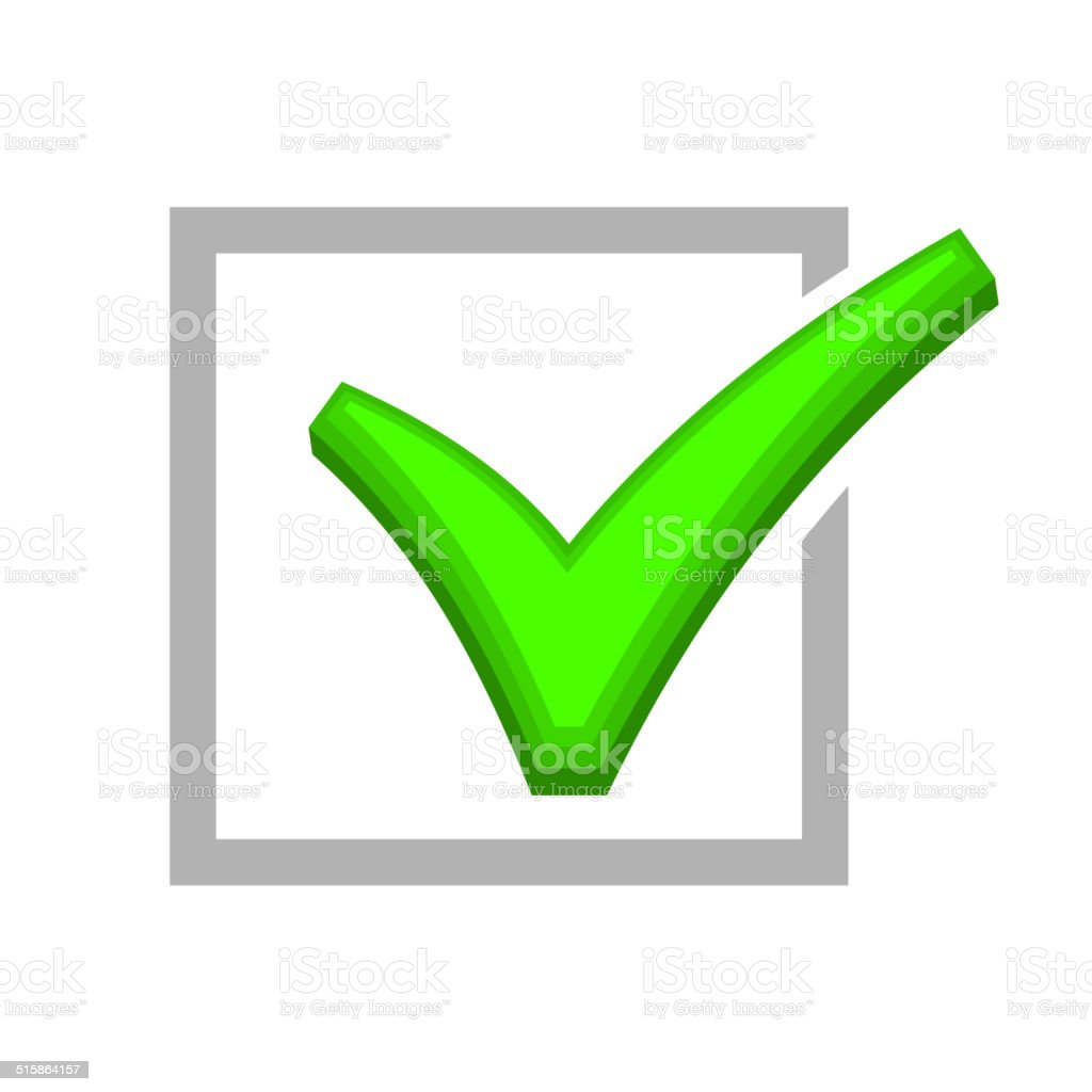 Image of Box Being Checked by Green Check Mark. Vector royalty-free image of box being checked by green check mark vector stock vector art & more images of achievement