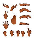 Image of cartoon black man, negro human hand gesture set.