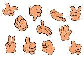 Image of cartoon human gloves hand gesture set.
