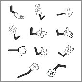 Image of cartoon human gloves hand with arm gesture set.
