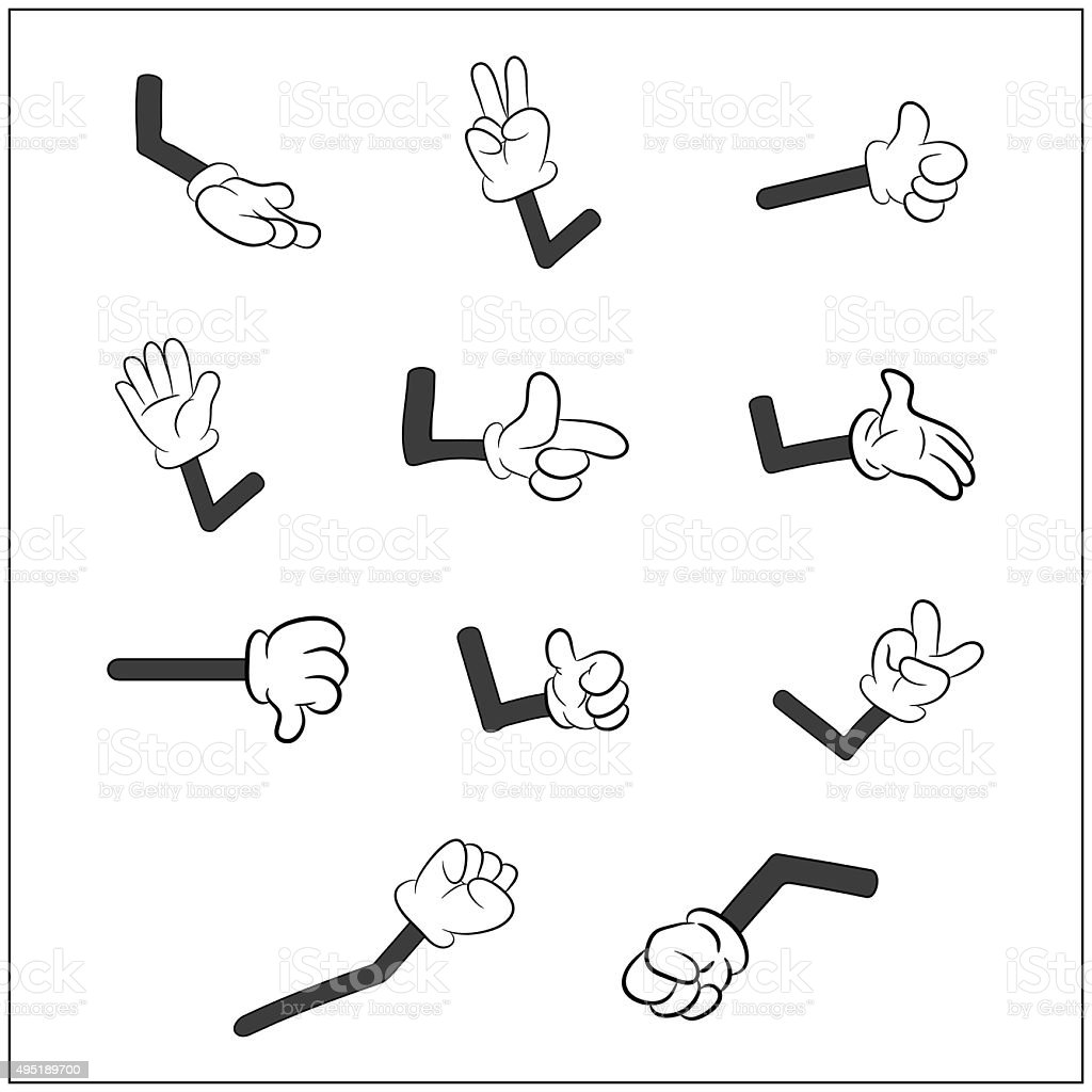 Image of cartoon human gloves hand with arm gesture set. vector art illustration