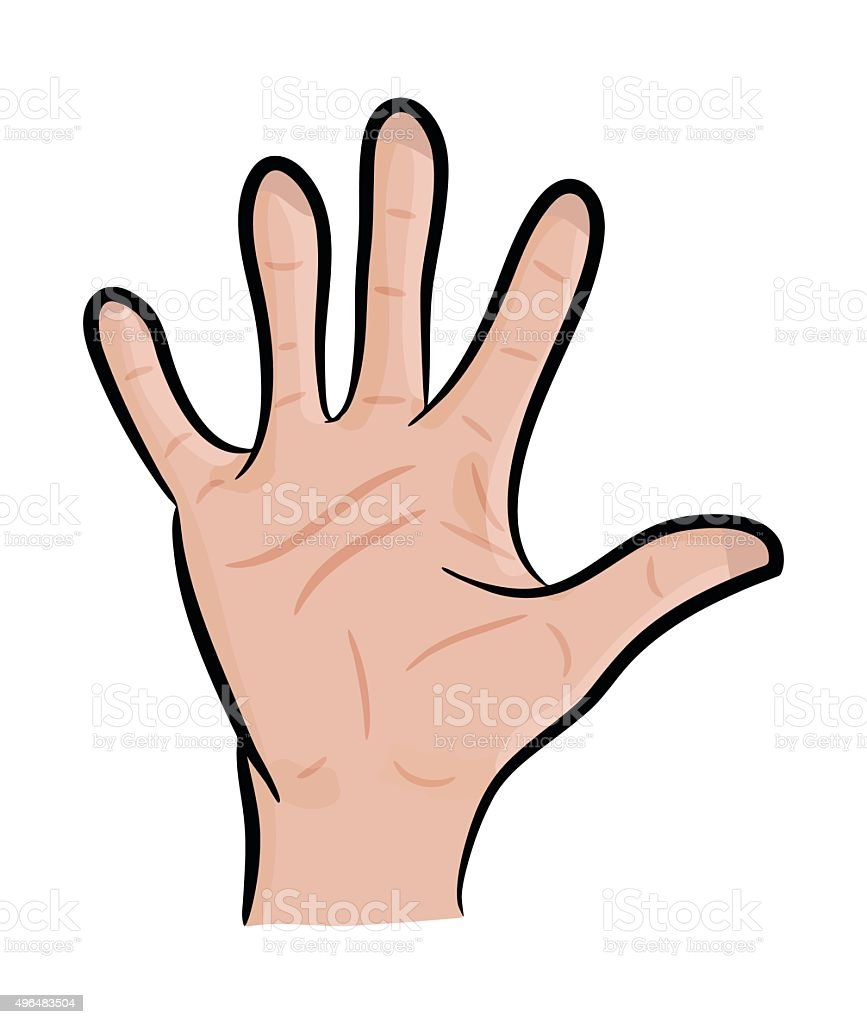 Image Of Cartoon Human Hand Gesture Open Palm Waving Stock Illustration Download Image Now Istock