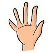 Image of cartoon human hand, gesture open palm, waving,
