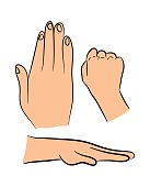 Image of cartoon human hand gesture set.