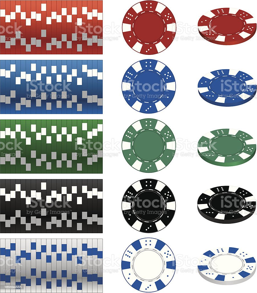 Image of casino gambling chips In different values vector art illustration