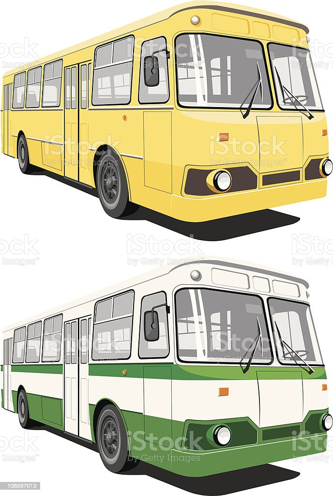 Image of city bus design in yellow and green colors vector art illustration