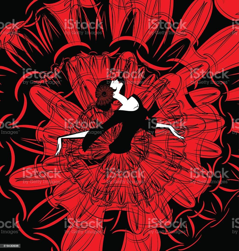 image of dancer in red-black vector art illustration