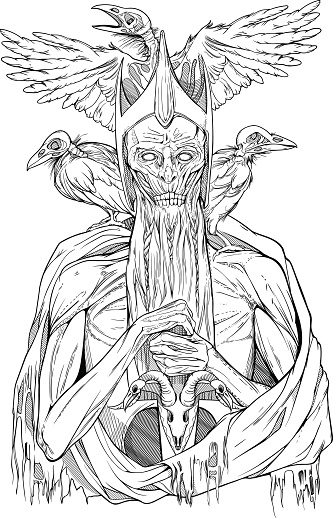 image of dead king with birds