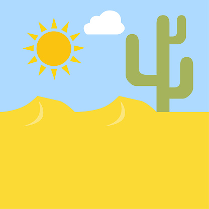 image of desert, sun and cactus, vector illustration