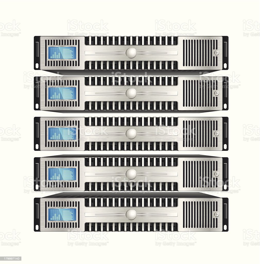 Image of five computer servers stacked on top of each other royalty-free stock vector art
