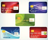Image of five different colored credit cards
