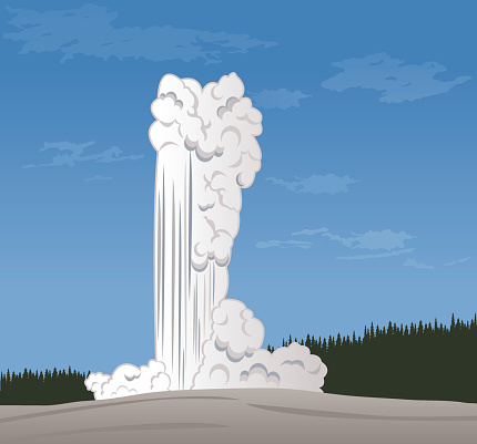 An illustration of Old Faithful at Yellowstone National Park.
