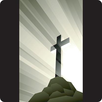 Image Of Golden Cross On Top Of A Hill-vektorgrafik och fler bilder på Dag