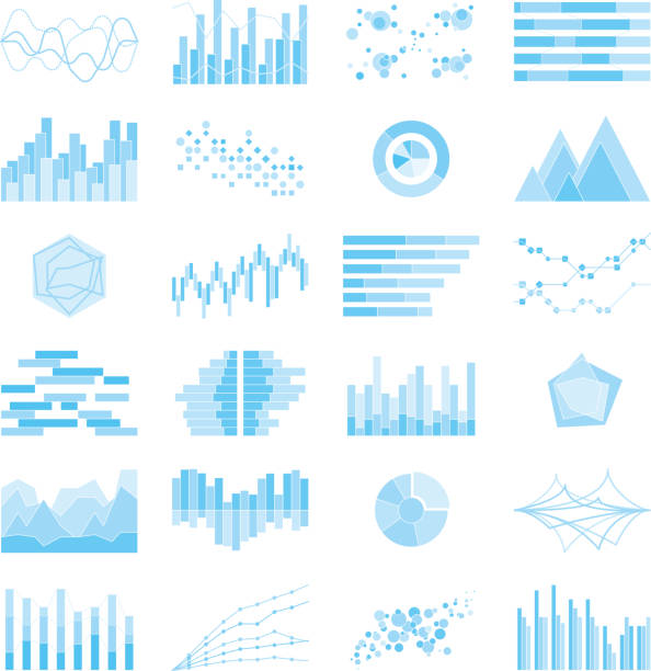 Image of graphs and charts vector art illustration
