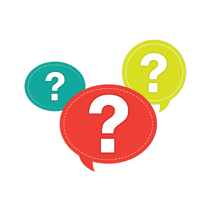Image of question mark symbol in a white background For assembly Or create teaching material for mothers who do Homeschool And teachers who find pictures for teaching materials such as flashcards or children's books.