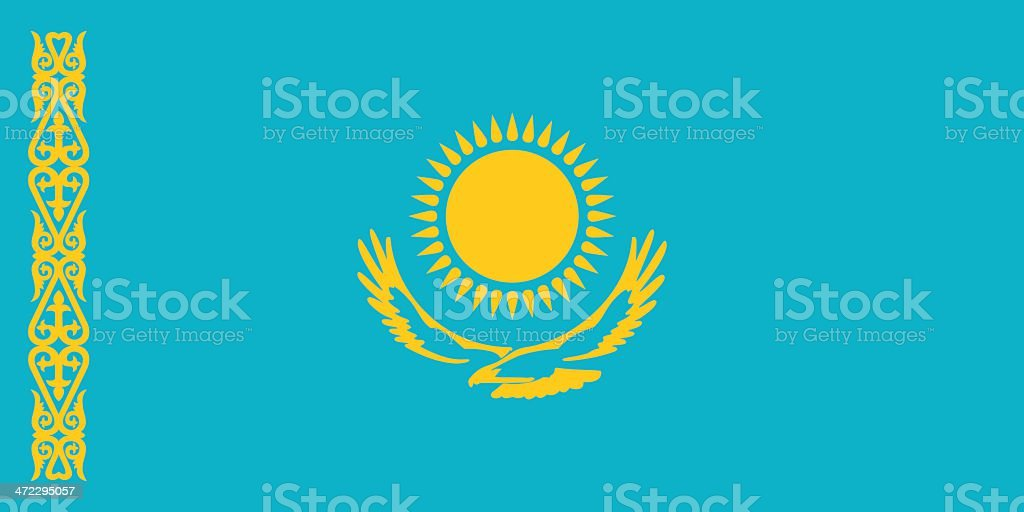 Image of the Kazakhstan flag with blue and yellow
