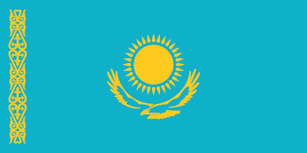 kasachstan flagge - kasachstan stock-grafiken, -clipart, -cartoons und -symbole