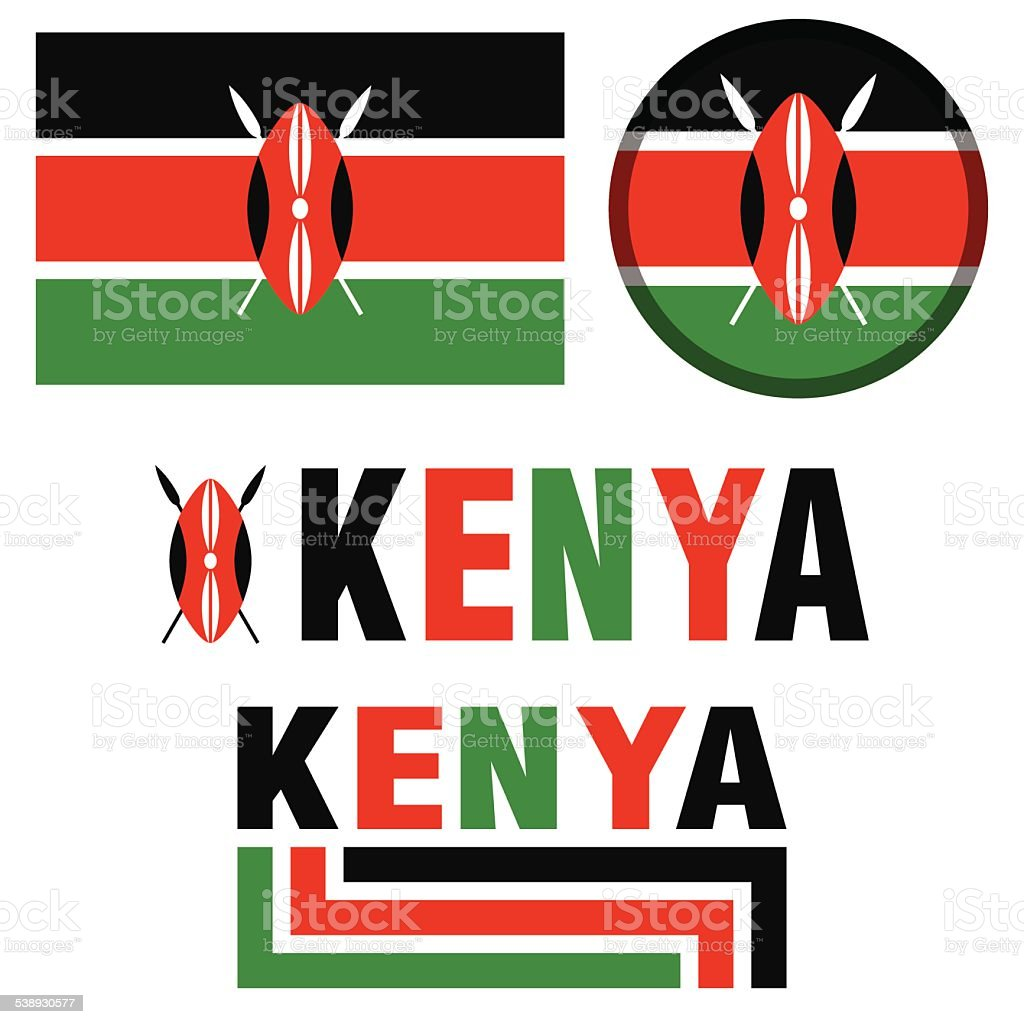 Image Of The Kenya Flag In Green Black And Red Stock Vector Art