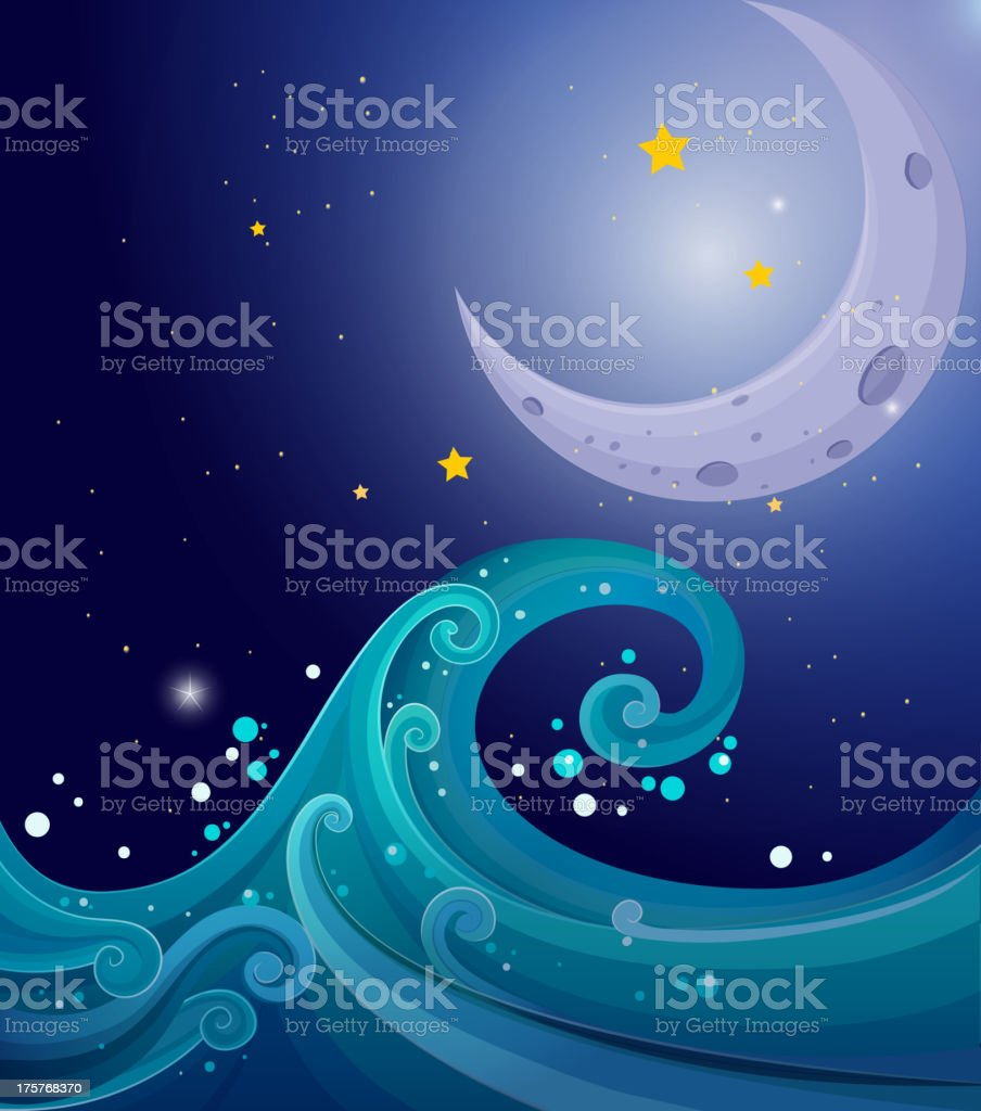 image of the sea waves with a moon royalty-free stock vector art