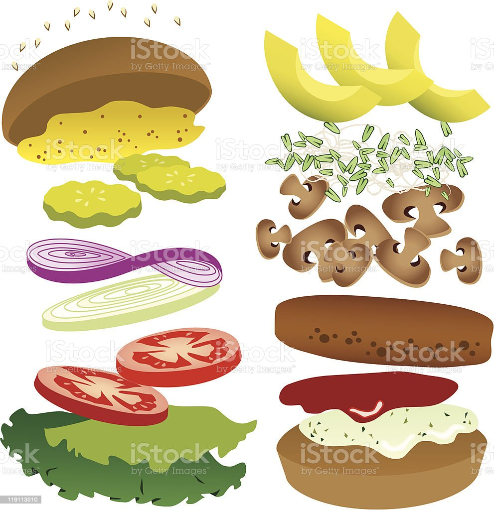 Image of vegetable ingredients for a vegetable burger vector art illustration