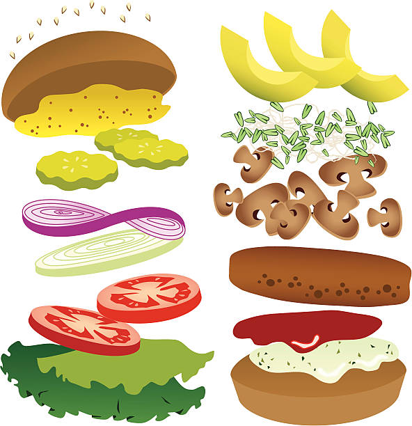 Image of vegetable ingredients for a vegetable burger Delicious burger ingredients set to mix and match. Be sure to see my other recipes! pickle slice stock illustrations